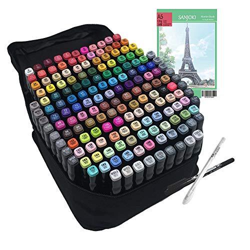 マーカーペン 水彩筆 イラスト マーカー 油性 セット 2種類のペン先 太字 細字 学生 168本