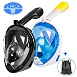 Ezire Full Face Snorkel Mask, 2-Pack Seaview 180° Panoramic Viewing Snorkeling Diving Mask with Action Camera Mount, Easy Breath Anti-Fog Anti-Leak Snorkeling Design for Adults (L/XL)