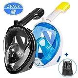 Omew 2PCS Masque Snorkeling, Masque de Plongée, Intégral Complet Antibuée et Anti-Fuite Lunettes de Plongée, Plein Visage 180° Visible avec la Support pour Caméra de Sport (Noir & Bleu)