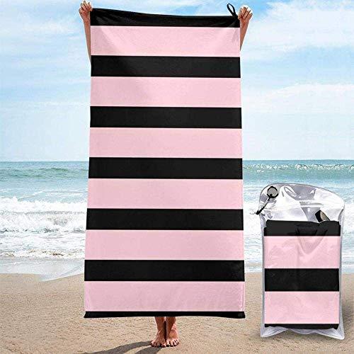 Yaxinduobao Toallas de Playa Cebra a Rayas Rosas Sábanas Negras Toallas de baño Traje de baño Manta de Secado rápido Camping Viajes Piscina Extra Grande Cubiertas de Trajes de baño Novedad Toall