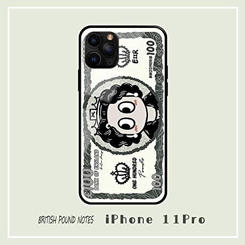 SWE Fun telefoonhoesje, sterling papiergeld, geel, compatibel met de iPhone 11, reflecterende getemperde spiegel, textuur, ultradunne TPU, zwarte rand, schokbestendige hoes, AA++++