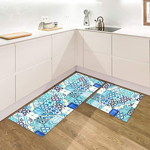IlGruppone Set di 2 tappeti da Cucina Antiscivolo e Lavabili passatoia Cucina,Ingresso,Camera - Blu
