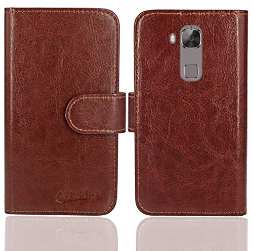 Huawei G8 / GX8 Handy Tasche, FoneExpert® Wallet Hülle Flip Cover Hüllen Etui Ledertasche Lederhülle Premium Schutzhülle für Huawei G8 / GX8 (Wallet Braun)
