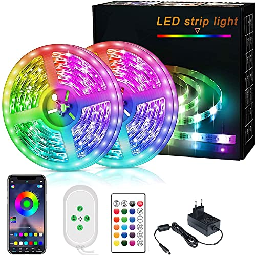 Sibosz Tuya Smart Life Striscia Led 10M Alexa Intelligente Wifi, Striscia di Luci Led 5050 rgb Led Strip Light con Telecomando Decorazione