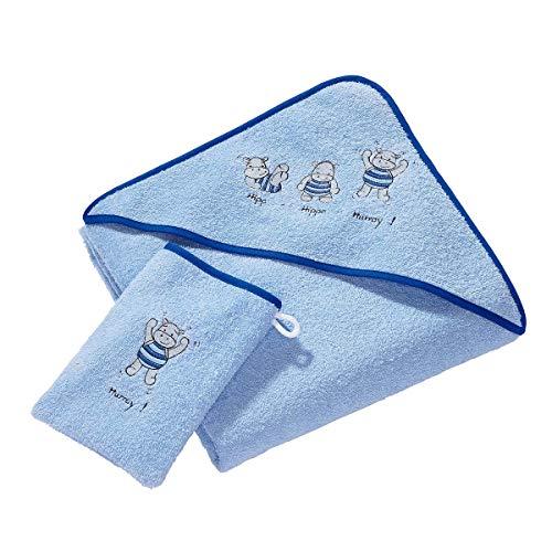 Wörner Lot de 2 textiles de bain en éponge, bleu