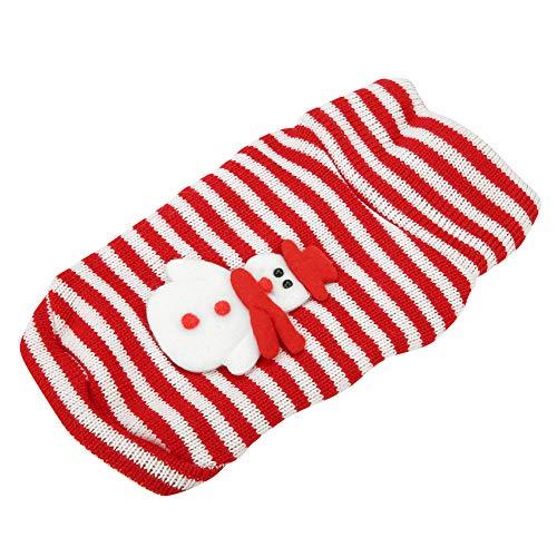 TAKE FANS Suéter de Navidad para mascotas con rayas cálidas para cachorros ropa de Navidad para perro muñeco de nieve traje (XS) Tela