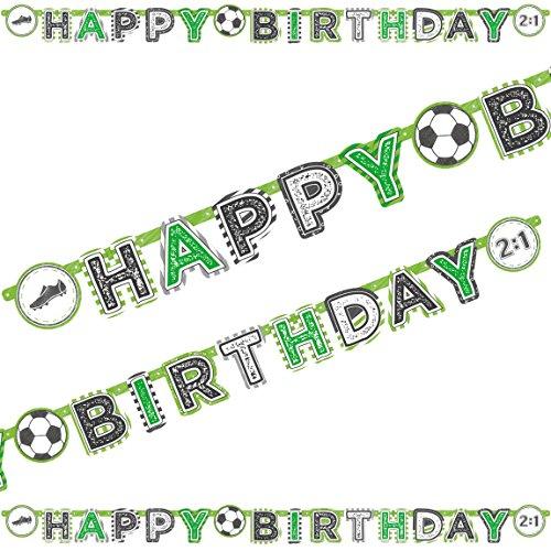 Amscan 2m Happy-Birthday-Partykette * Fussball-Stadion * als Deko für WM 2018-Party oder Kindergeburtstag // EM Party Mottoparty Geburtstag Soccer Letter Banner