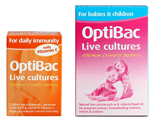 OptiBac for Daily Immunity, Pack of 30 Capsules + for Babies & Children, Pack of 30 Sachets
