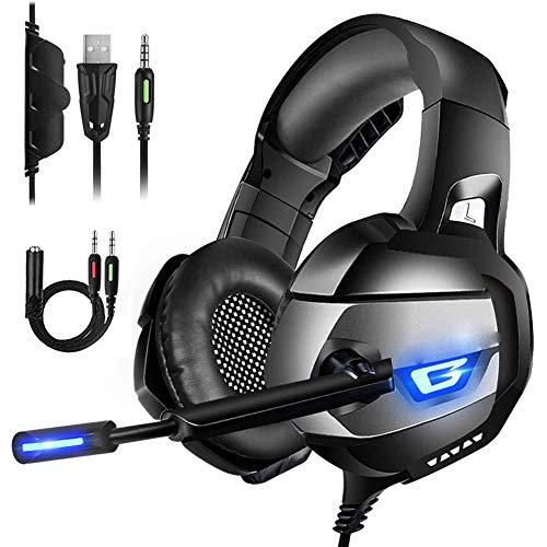 XIANG Auricular para Juegos, estéreo de 3,5 mm del Juego del Vide Gaming Headset Headphonecasque Audio del Juego de Auriculares con micrófono para PC Ordenador Luz