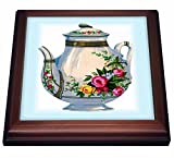 3dRose Victorian Floral Teapot Trivet with Ceramic Tile, 8 by 8', Brown