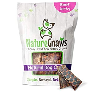 Nature Gnaws Beef Jerky Bites for Small Dogs – Premium Natural Treats – Simple Single Ingredient Tasty Dog Chews – Rawhide Free – 3-4 Inch (20 Count)