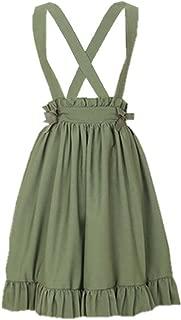 Green Suspender Skirt for Girls Lolita A-Line Pleated Skirts
