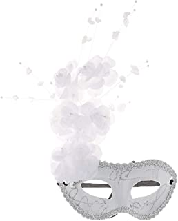 Perfeclan ハーフフェイスマスク 半分 花 目のマスク コスプレ パーティー コスチューム 飾り 4タイプ選べ - 2