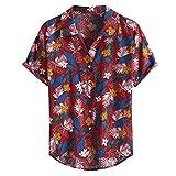 CAOQAO Hombre Camisa de Manga Larga con múltiples Bolsillos en el Bolsillo del Bolsillo Dobladillo Redondo Camisas Sueltas Blusa #2