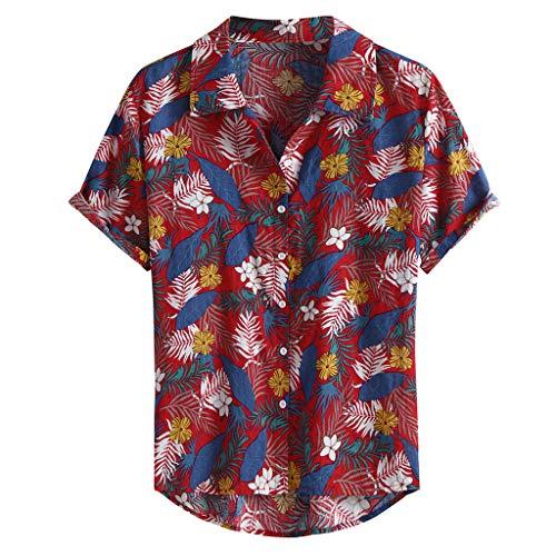 Xmiral Camicie per Uomo Manica Corta Hawaiana Regular Fit Floreale Multi Color Petto Petto Petto Manica Corta Tondo Camicetta Allentata Camicetta (M,2- Rosso)