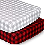 The Peanutshell Crib Sheet Set for Baby Boys or Girls | Red, Black & Grey Buffalo Plaid | 2 Pack Set