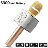 Duet Version 3300mAh Wireless Karaoke Microphone 12w Hi-Fi Bluetooth Speaker Player for iPhone Android Smartphone, Dual Sing the newest verision in 2019