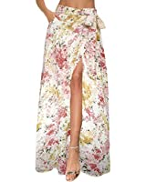 Afibi Womens Flowy Chiffon Summer Beach Wrap Split Maxi Skirts with Pockets (X-Large, Pale Yellow)