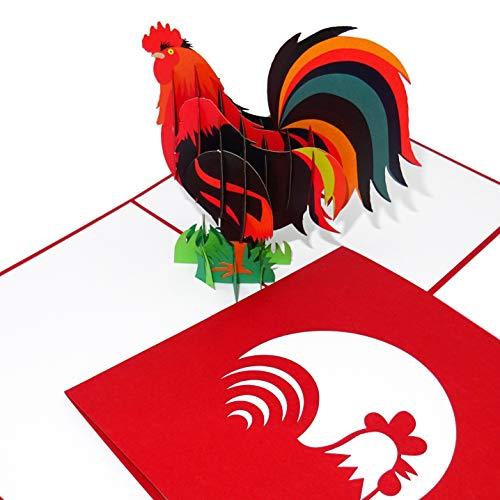 """Pop Up Karte """"Bunter Hahn"""" - 3D Geburtstagskarte & Einladungskarte mit Umschlag - als Gutschein für Urlaub auf dem Bauernhof, Reisegutschein & Einladung"""