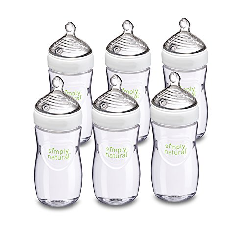 NUK Simply Nautral Baby Bottle, Clear, 9 Ounce (Pack of 6)