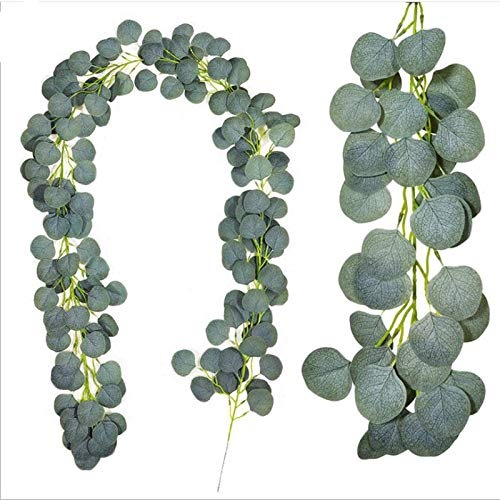 2 Pack Artificial Eucalyptus Garland, 6.6 Ft Faux Silver Dollar Greenery Vines Swag, Silk Eucalyptus Leaves Vines Ivy Wreath Wall Decor for Wedding Party Home Decoration