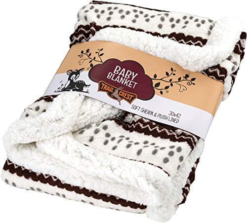 TrailCrest Ultra Soft Sherpa Fleece Plaid Baby Blanket   Cozy, Plush Throw Blanket for Kids   Reversible Plaid   Washable   Wide Size for Extra for Warmth & Comfort   Cute