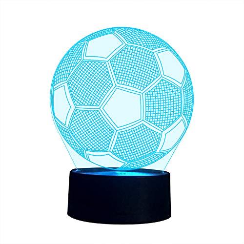 3D Illusion Nachtlampe, SUNINESS 7 Farben ändern Touch Control LED Schreibtisch Tisch Nachtlicht für Kinder Kinder Familie Ferienhaus Dekoration Valentinstag beste Geschenk(Fußball)