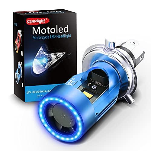 Camelight 青色光付き CCFL バイク用 LED ヘッドライト H4 / HS1 Hi/Lo 直流 DC 12V / 24V 汎用 ホワイトライト 6000K (青)