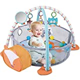 HIUME Baby Play Mat 3 in 1 Baby Gym with 4 Hanging Toys