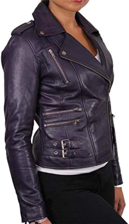 New Fashion Style Women's Leather Jackets Purple M69_