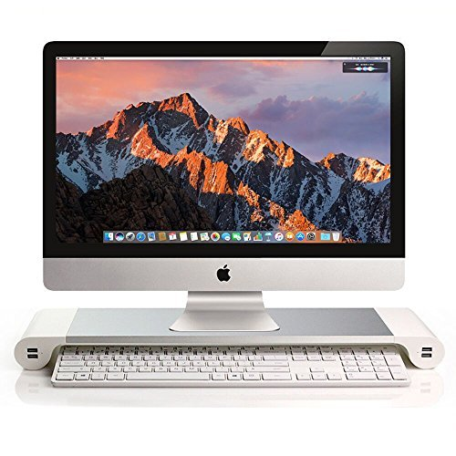 ISINO Aluminum Computer Monitor Stand Space Bar Lcd Monitor Riser Pc Screen Mount with 4 USB Ports Keybord Storage for Universal Monitor , Silver and White