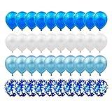 Gxhong Globos de confeti Globos de Látex Azul Blanco, 60pcs globos de helio de 12'' Globos de confeti de látex con 4...