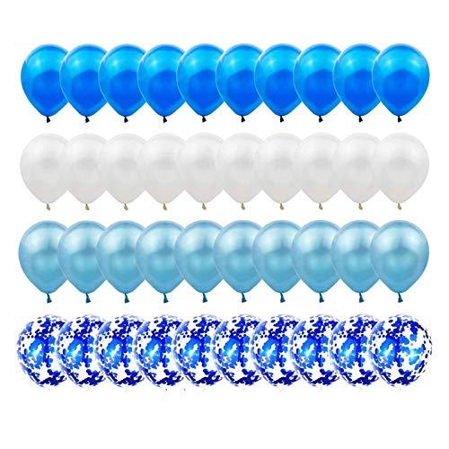 Gxhong Palloncini in Lattice Bianco Blu, 60 Pezzi Palloncini coriandoli / Palloncini Elio / Matrimonio Palloncini / 12 Pollici Palloncini Coriandoli Colorati per Decorazioni per Feste (Blu)