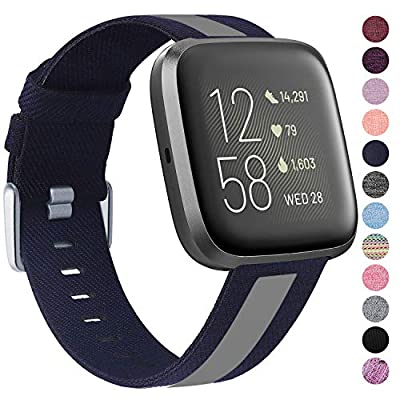 Laneco Bands Compatible with Fitbit Versa/Fitbit Versa 2/Fitbit Versa Lite for Women Men, Breathable Woven Fabric Strap with Stylish Buckle, Adjustable Wristband for Fitbit Versa Smartwatch