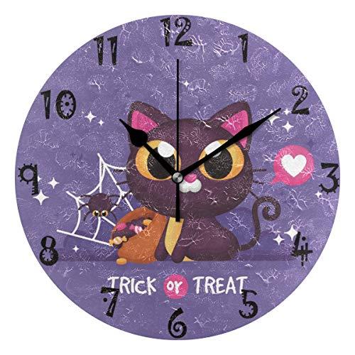 Azalea Store - Reloj de pared circular con forma de gato, diseño de araña, color morado