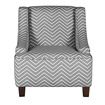 HomePop Youth Upholstered Swoop Arm Accent Chair Grey and White Chevron