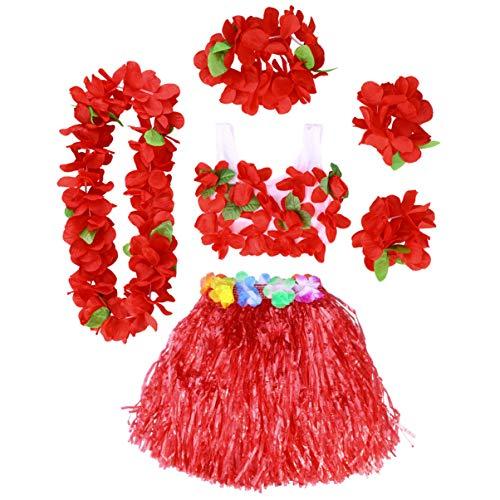 PRETYZOOM Hawaii Tropische Hula Gras Rok Bloem Leis Armbanden Hoofdband Ketting Bh Set Hawaiian Party Kostuum Luau Outfit 40Cm 6St