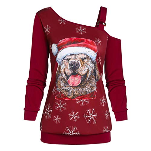 YBWZH Weihnachten Hoodies Weihnachtspullover Schulterfrei mit Weihnachtshund Druck Weihnachtskarikatur Weihnachtpullis Schneeflocken Große Größen Sweatshirts für Weihnachtsfeier