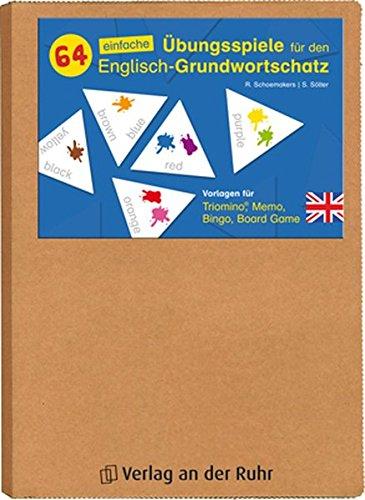 64 einfache Übungsspiele für den Englisch-Grundwortschatz: Vorlagen für Triomino®, Memo, Bingo, Board Game