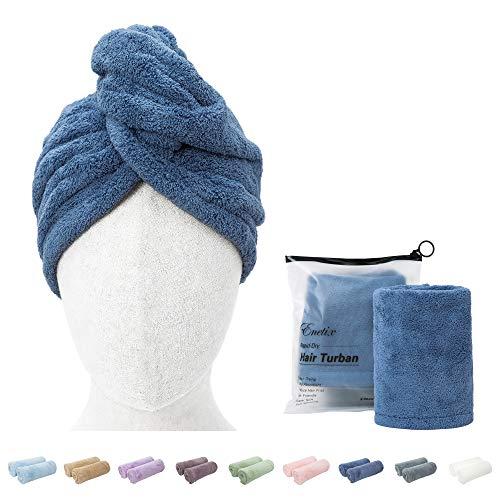 Enetix Lot de 2 Serviettes de séchage en Microfibre pour Femme, 25 x 70 cm, Super absorbantes, Anti-frisottis, séchage Rapide, avec Bouton, Bleu Royal