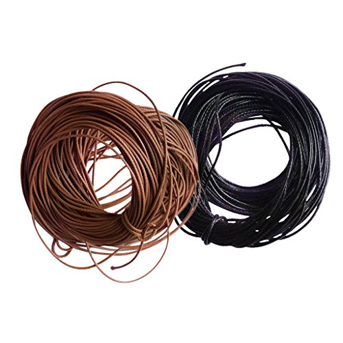 freneci Cuerda de Nailon Encerado de 2X 10 M para Bricolaje, Collar, Pulsera, 1 Mm, Café Negro