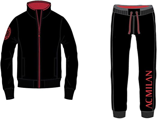 Tuta Milan Ufficiale Uomo Adulto Cappuccio XXL XL LMS XS Felpa Pantalone MILTUT (Spalle 49,Torace 59,lungh.71-XL)
