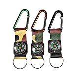 Camouflage Army Belt Clip Toy Compass Carabiner Keychains - Party Apparel Accessories - 12 Pieces