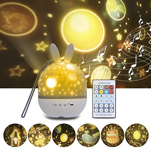 Veilleuse Enfant LED Lampe Projecteur, Tomshine Projecteur Étoiles Rotatif avec Musique 6 Films Minuteur 360°Rotation Galaxy Sky Lights Cadeaux Jouets pour Bébé Fille Garçon Noël Anniversaire