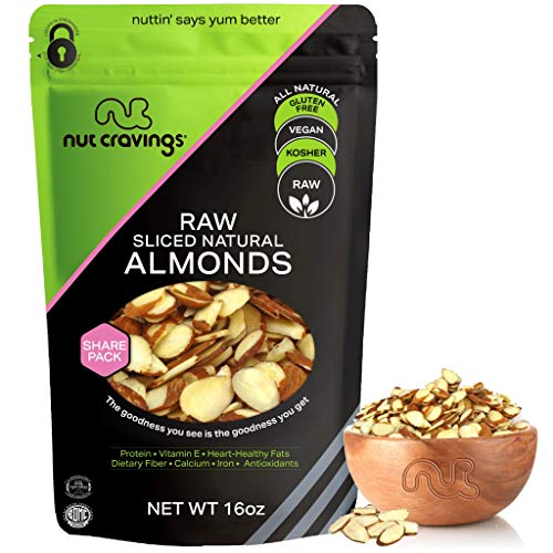 Natural Sliced Almonds - Raw, Superior to Organic (16oz - 1 Pound) Packed Fresh in Resealble Bag - Nut Trail Mix Snack - Healthy Protien Food, All Natural, Keto Friendly, Vegan, Gluten Free, Kosher