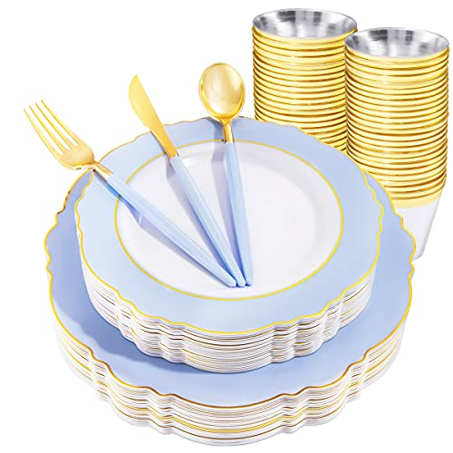 WDF 150pieces Blue Plastic Plates with Gold Rim& Disposable Gold Plastic Silverware With Blue Handle-Baroque Light Blue&Gold Plastic Dinnerware for Upscale Wedding &Parties