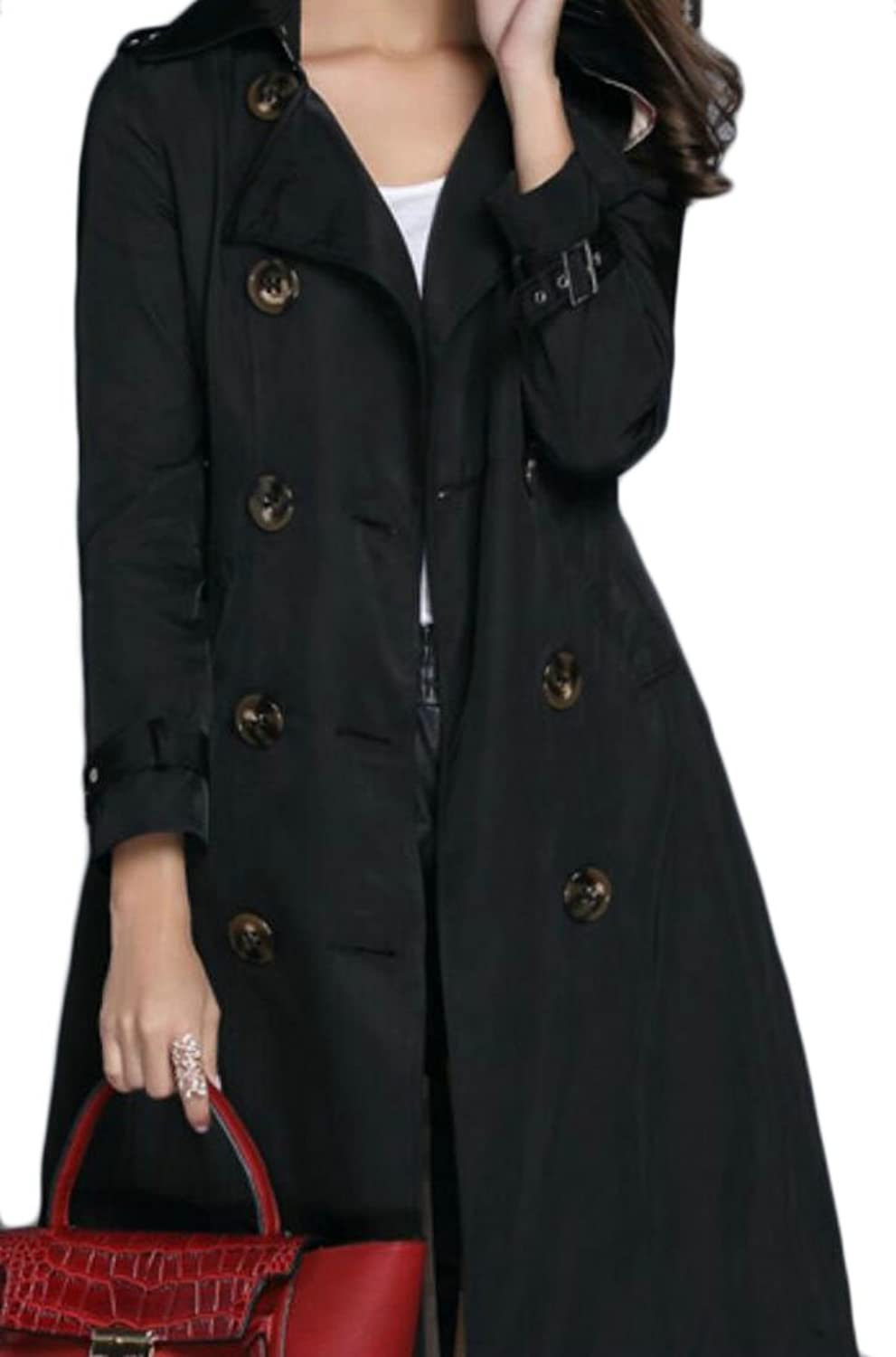 GAGA Women's Winter Outdoor Double Breasted Long Trench Pea Coat Jacket