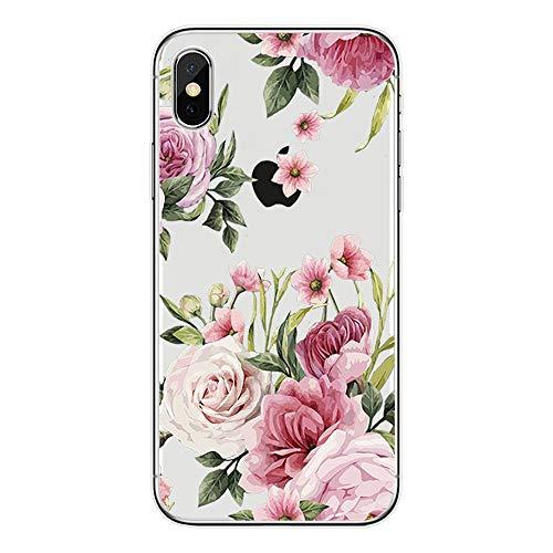 puissant Coque de protection en silicone souple Anceky pour iPhone XS Max Motif fleur transparent -…