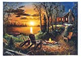 Oak Street Christmas Winter Scenes LED Art 8'x6' Tabletop Canvas Light up Picture 6 Hour Timer (8'x6', Take A Seat Campfire Cabin OSW19)