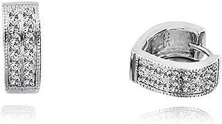 Sterling Silver Heart-Shaped Diamond Ear Clips Elegant, Fresh and Cute Fashion Temperament Anti-Allergic Earrings Jinlyp (Size : Silver)
